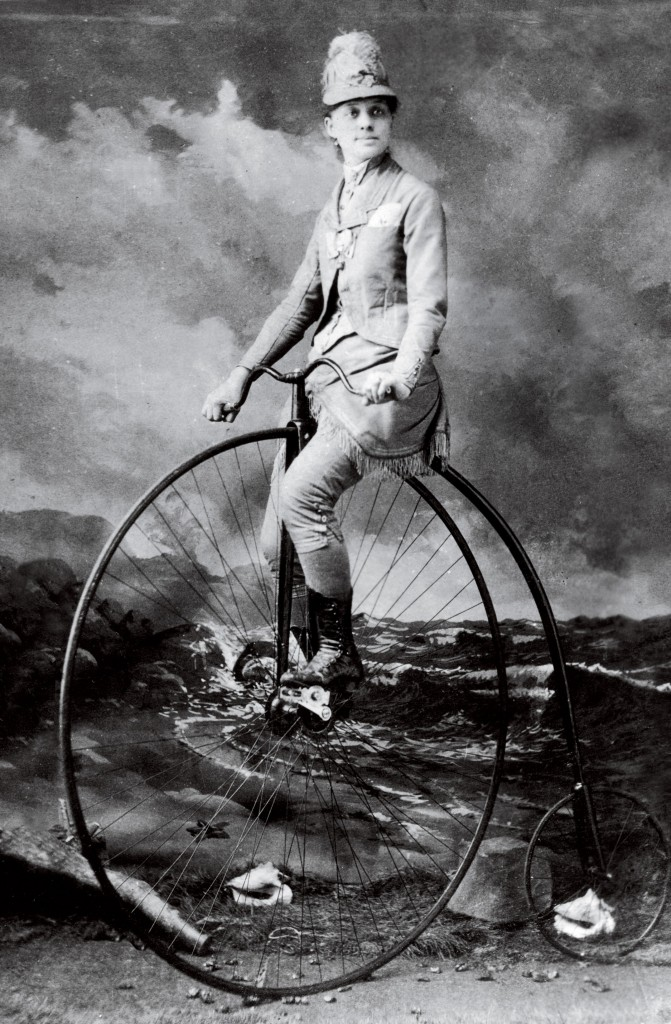 Elsa von Blumen on her high wheel bicycle