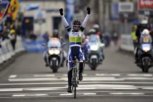 Tiffany wins the Omloop Het Nieuwsblad in 2013.