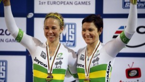 Kaarle receives her recent World Champs bronze medal with team mate Anna Meares