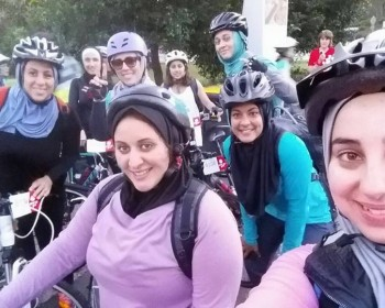Muslim women cycling