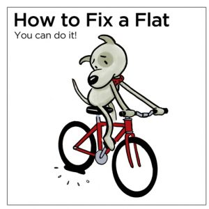 Changing a flat bicycle tyre