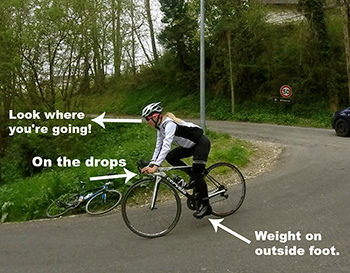 descend safely on a road bike
